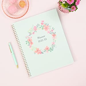 blue sky laurel collection, academic planner, weekly, monthly, 2021-2022, pastel floral cover, desk