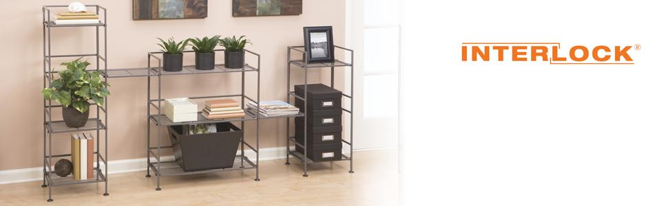sevilleclassics iron metal steel shelving storage rack shelf tower organizer utility display easy