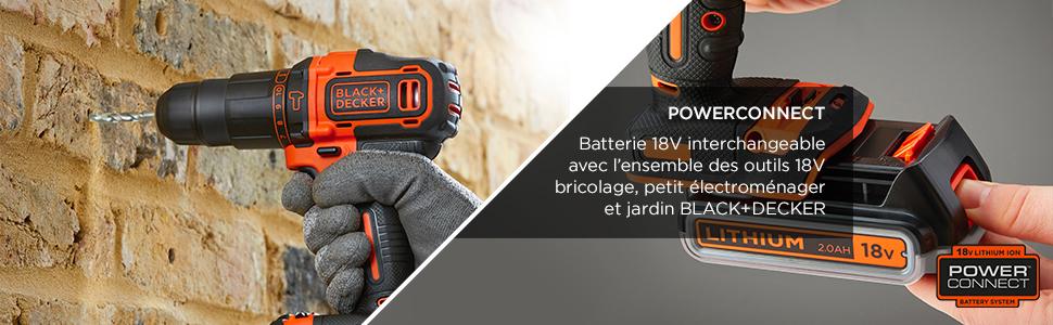 104 accessoires 1 batterie BLACK+DECKER BDCHD18S1KA-QW Perceuse /à percussion sans fil 2 Vitesses 18V 21 000 cps//min Livr/ée en boite /à outil 40 Nm