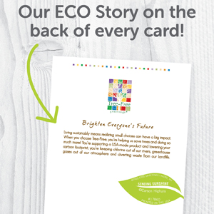 The back of each card shares the Tree-Free Greetings sustainability commitment.