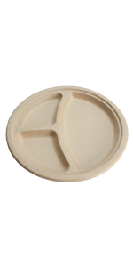 compostable 10inch 3-compartment plates