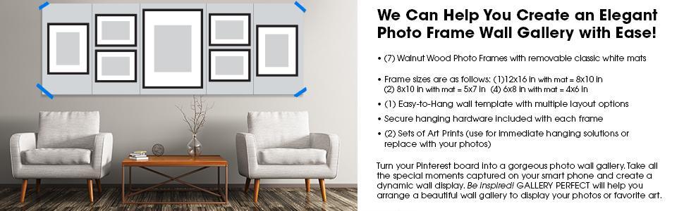 Amazon.com - GALLERY PERFECT 7 Piece Walnut Photo Frame Wall ...