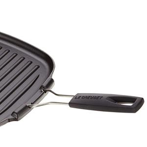 Le Creuset 20054000000400 Parrilla grill de hierro fundido, Cuadrada, 24 x 24 cm, Mango plegable, Apto para todas las fuentes de calor, incl. ...