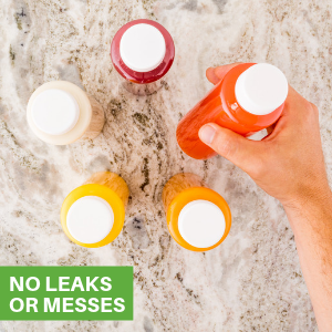 These juicing bottles have tamper-evident caps to prevent spills and unsightly messes.