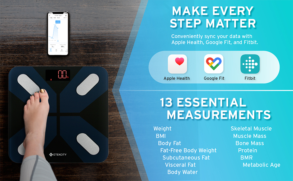 Conveniently syncs data with Apple Health, Samsung Health, Google Fit&FitBit and track 13 body data