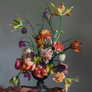 dark flower arrangement