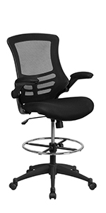 Mid-Back Mesh Ergonomic Drafting Chair with Adjustable Foot Ring
