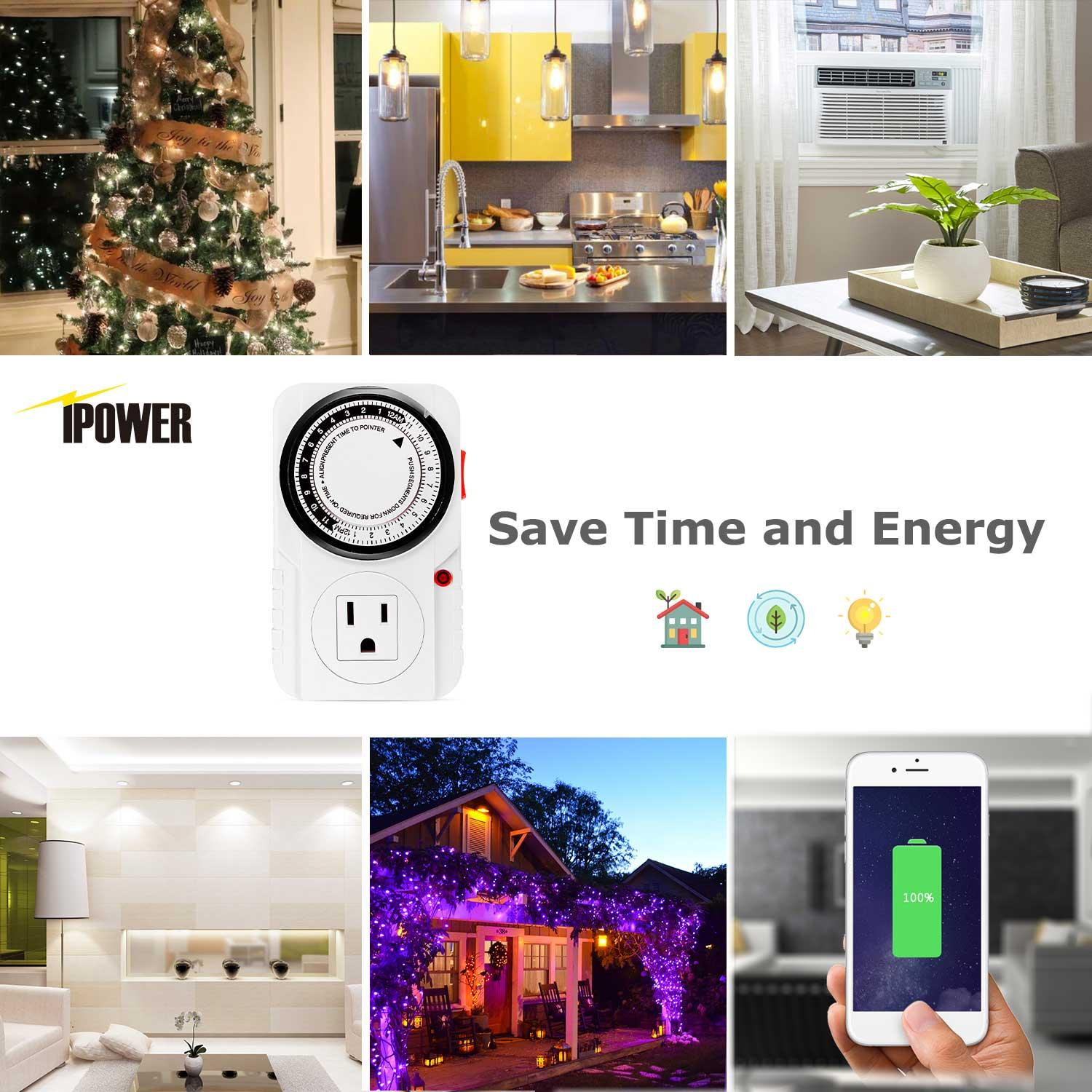 Amazon.com : IPower 2-Pack 24 Hour Plug-in Mechanical