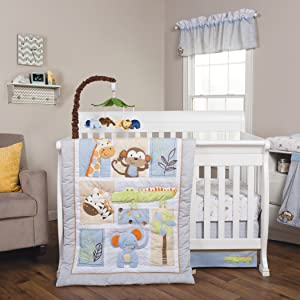 jungle fun crib bedding, baby boy crib bedding, jungle crib bedding, blue crib bedding