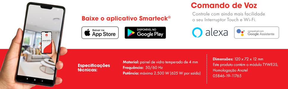 Comando de voz, Alexa, Google Assistente, Smarteck, aplicativo