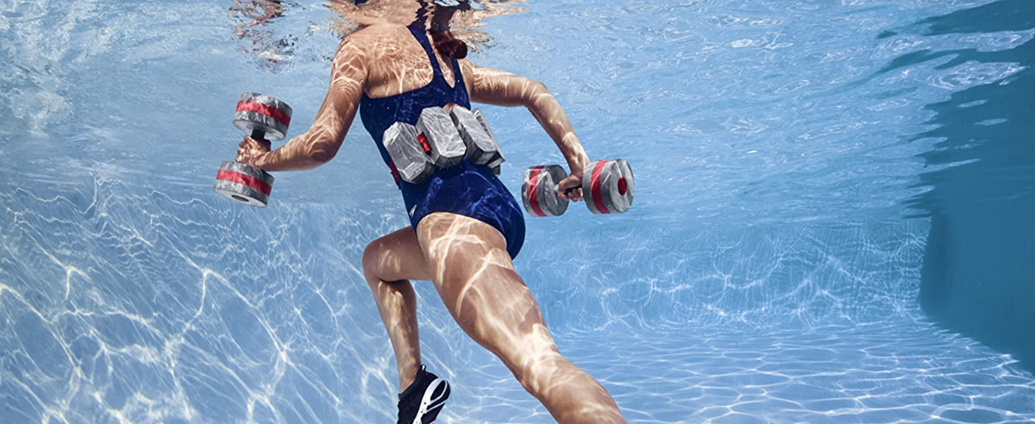 Aquatic fitness, aqua fitness, aqua Zumba, aqua fitness barbells, aqua fitness belt. Aqua fit set