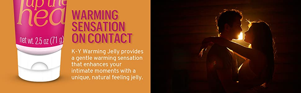 KY Warming Jelly tube, intimate couple with text Warming Sensation On Contact