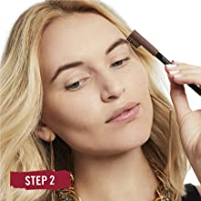 Close-up of woman's face applying Rimmel Professional Eyebrow Pencil with the built-in brush side