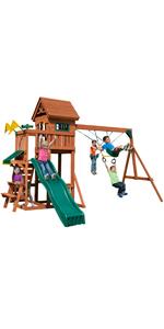 Playful Palace, PB 8331, swing set for kids, swing set with slide, wooden swing set, kids play set