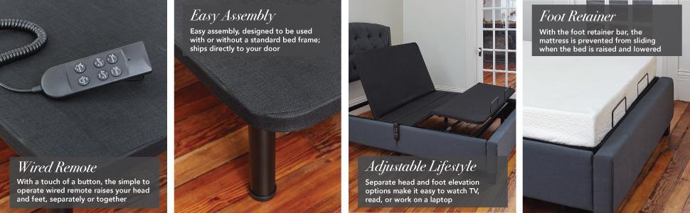 wireless remote, wired remote, adjustable bed, usb ports, mattress retention, wallhugger