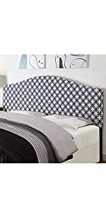 upholstered headboard, headboard, pulaski, home meridian, upholstered, navy and white
