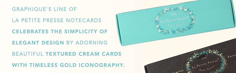 notecard line cream gold pretty