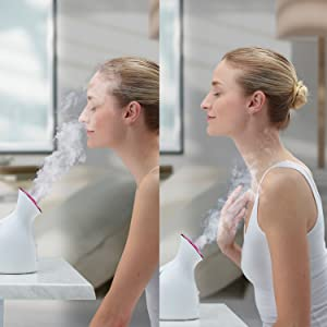 woman using facial steamer