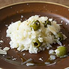 玉ねぎとグリーンオリーブのリゾット