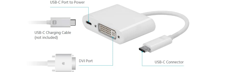 Monoprice Select Series USB-C to DVI and USB-C (F) Dual Port Adapter