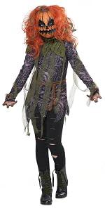 Pumpkin, Corn Field, Haunted House, Scary Girl's Costume, Creepy, Girl's Mask, Jack-O-Lantern