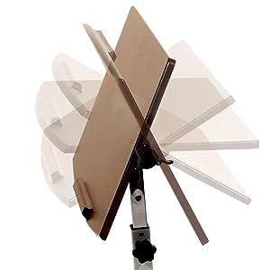 sevilleclassics tilting tilt adjustable height mobile rolling desk cart table top wheels wood walnut