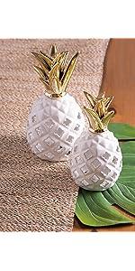 LED lantern;white and gold decor;ceramic lantern;ceramic LED lantern;pineapple decor;trendy decor