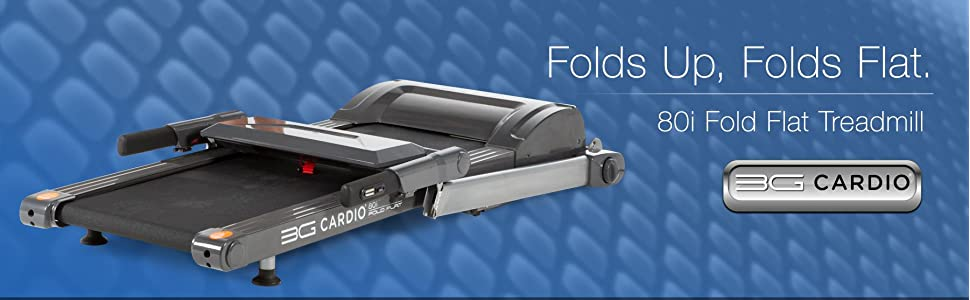 """3G Cardio 80i Fold Flat Treadmill folds up for storage and folds flat to 9.75"""" height."""