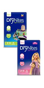 drynites, huggies drynites, night time pants, bedwetting, children night time pants, night pant