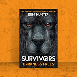 Survivors Darkness Falls book cover on orange background with cracks and dog paw prints.