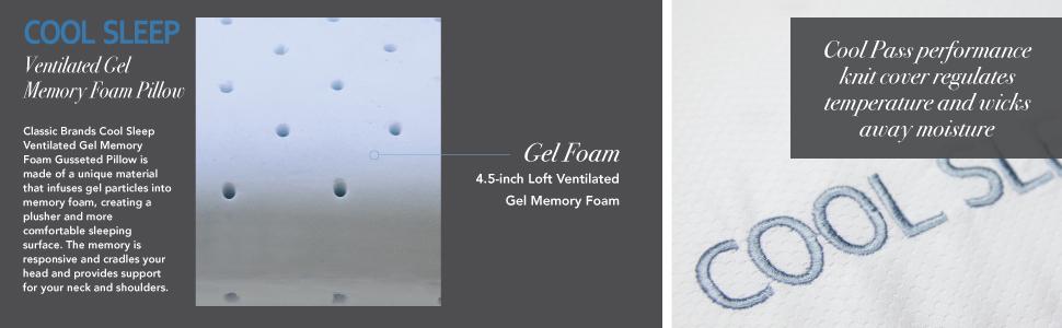 cdda616e7a0f Classic Brands Cool Sleep Ventilated Gel Memory Foam Gusseted Pillow, Queen,  King, Standard