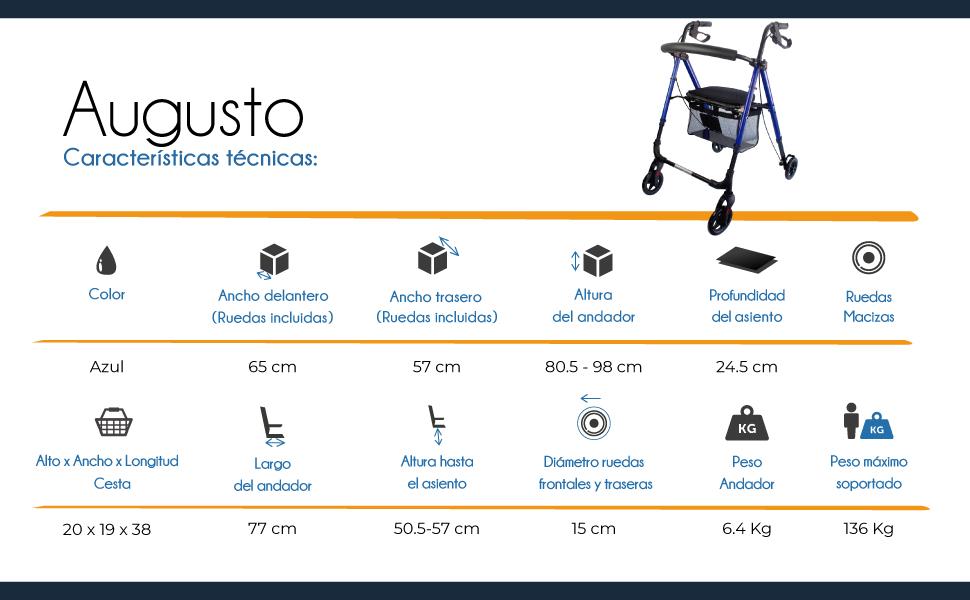 Mobiclinic, Modelo Augusto, Andador para adultos, minusvalidos ...