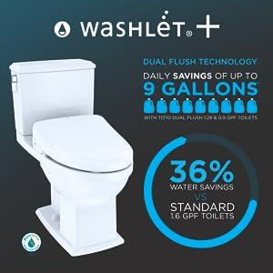 TOTO MW4943044CEMFG#01 Kit Connelly Elongated Dual Flush 1.28 and 0.9 GPF Classic WASHLET S500e Bidet Seat White-MW4943044CEMFG Two-Piece Toilet Cotton White