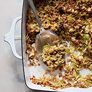 Cheesy Brussels Sprout and Farro Bake