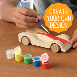 Made By Me Build Paint Your Own Wooden Cars By Horizon Group Usa Diy Wood Craft Kit Easy To Assemble Paint 3 Race Cars Multicolored
