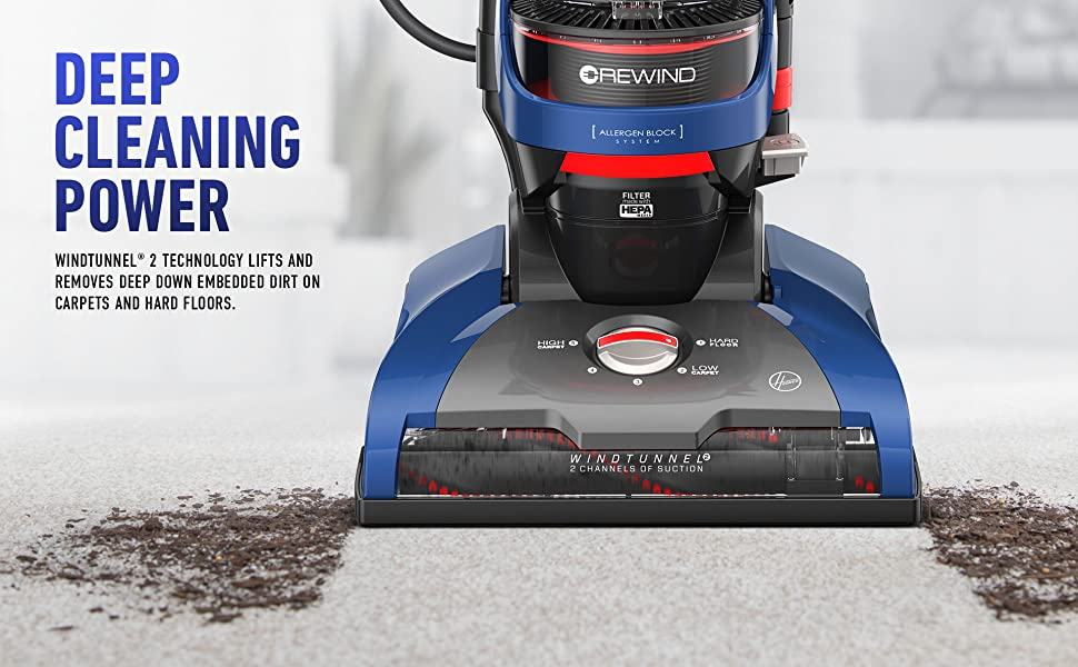 Hoover WindTunnel 2 Whole House Rewind Bagless Corded Upright Vacuum UH71250