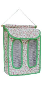 ポリ袋 ストッカー 小花 緑 赤 昭和レトロ 壁掛け 仕切り 2種類 分けられる