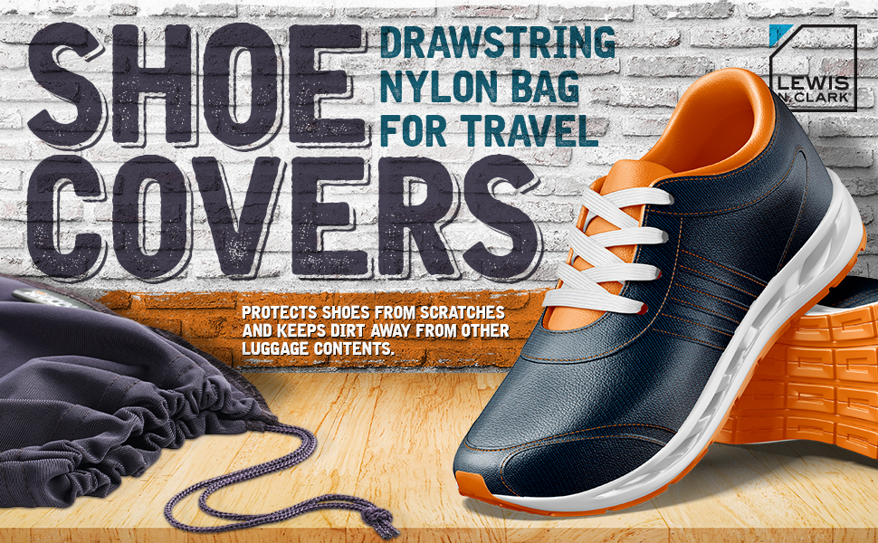 lLewis N Clark Travel Shoe Covers One Size, Black//Grey