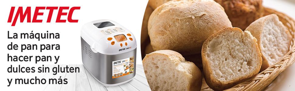 Imetec Zero-Glu Panificadora Para Pan y Postres Sin Gluten, Amasa, Fermenta y Cuece