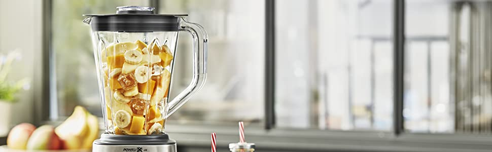 Moulinex Perfect Mix+ LM82AD10 Batidora de vaso de 2 litros, 1200 W, vaso Tritan acabados exteriores de acero inoxidable, selector de la velocidad retroiluminable, 3 programas, modo manual y autoclean: Amazon.es: Hogar