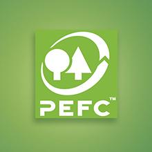Certifié PEFC, carton issu de forêts gérées durablement, sources contrôlées, boîte, logo