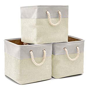 EZOWare Cestas de almacenaje cubos de tela plegable con manijas
