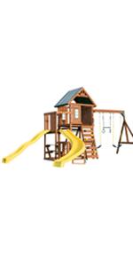 Castlebrook, WS 8355, swing set for kids, swing set with slides, wooden swing set
