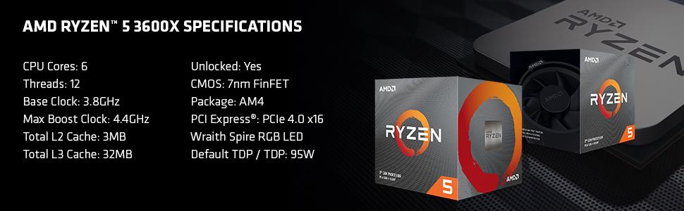 Amd Ryzen 5 3600x Processor 6c 12t 35 Mb Cache 4 4 Ghz Max Boost Amazon Co Uk Computers Accessories