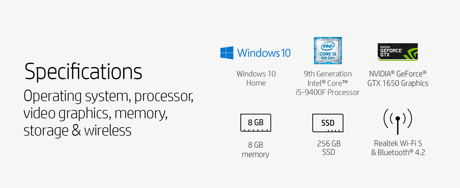 9th generation Intel Core i5-9400F NVIDIA GeForce GTX 1650 SSD solid state drive bluetooth windows