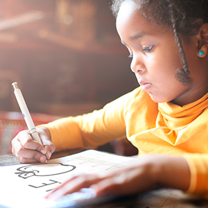 Simple design keeps young children focused on writing without other distractions on a page.