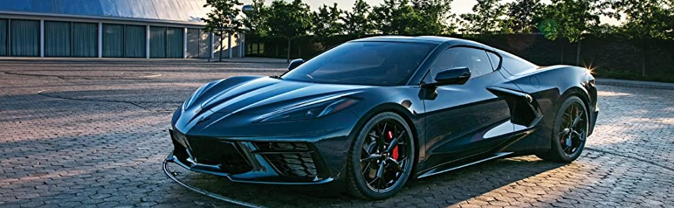 The new Corvette looking good as it poses behind GM Design
