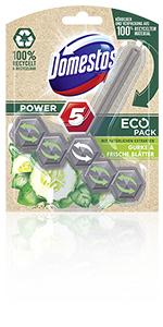 Domestos Power5 EcoPack Toiletsteen met komkommer en frisse bladeren.