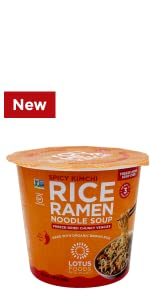 Spicy Kimchi Rice Ramen Noodle Soup With Freeze-Dried Chunky Veggies Cup
