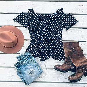 Star Vixen Polka dot top flat lay outfit